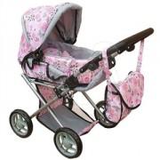 Dětský kočárek pro panenky Doris kombinovaný: světle růžový s květinkami
