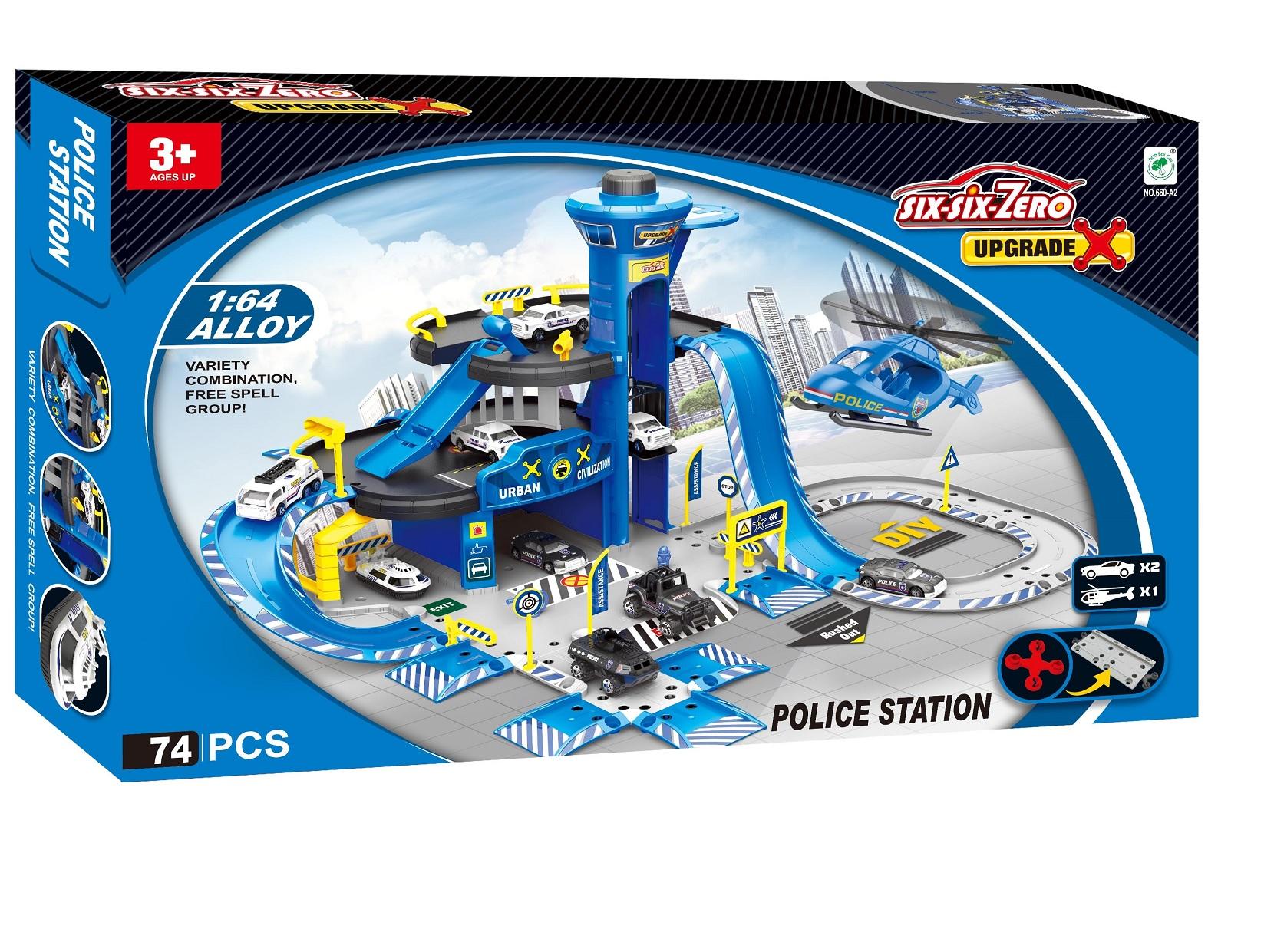 Doris parkoviště s garáží a vrtulníkem modré