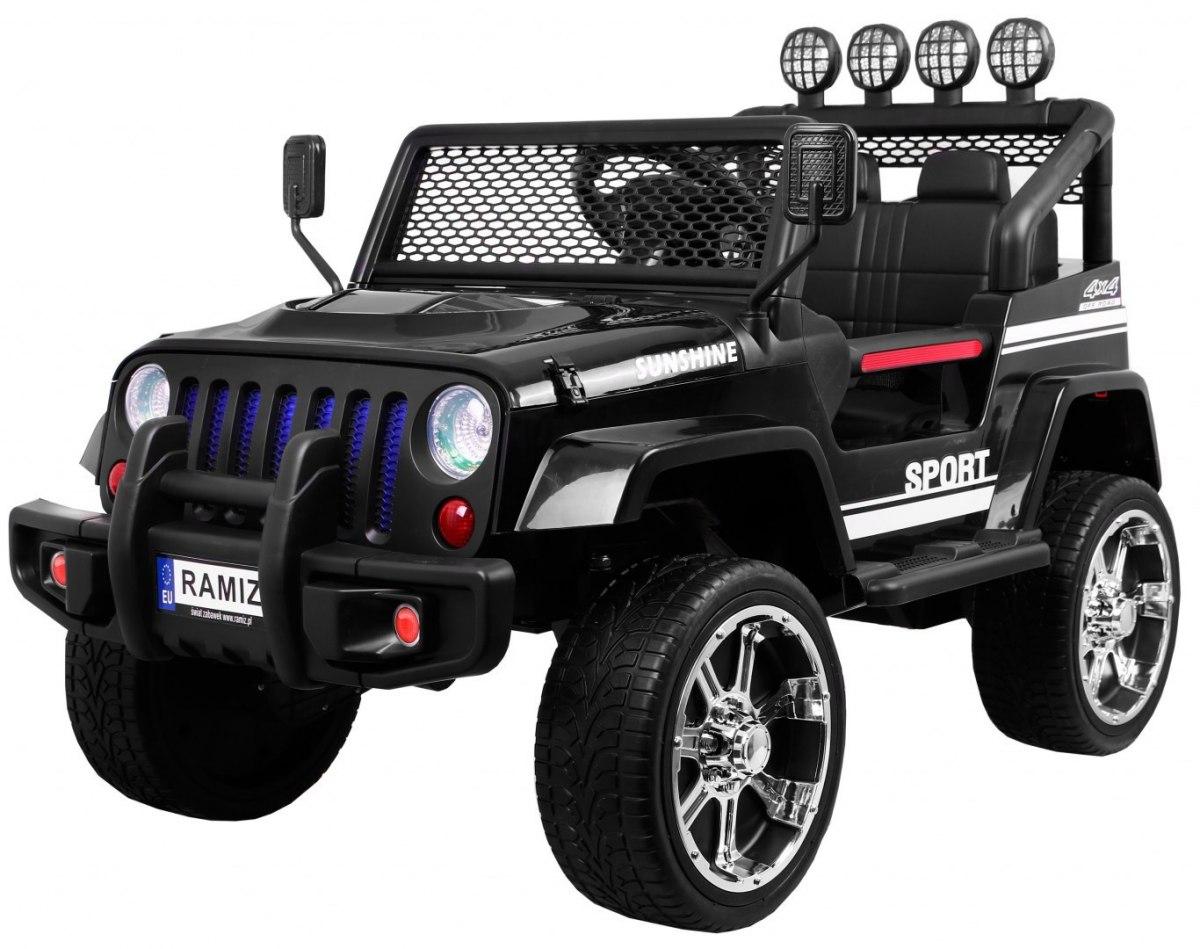 Ramiz Jeep Raptor 4x4, kožená sedačka, 2 místné - černé