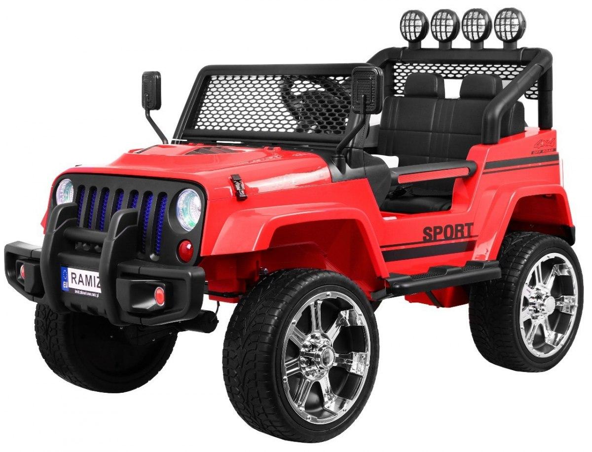 Ramiz Jeep Raptor 4x4, kožená sedačka, 2 místné - červené