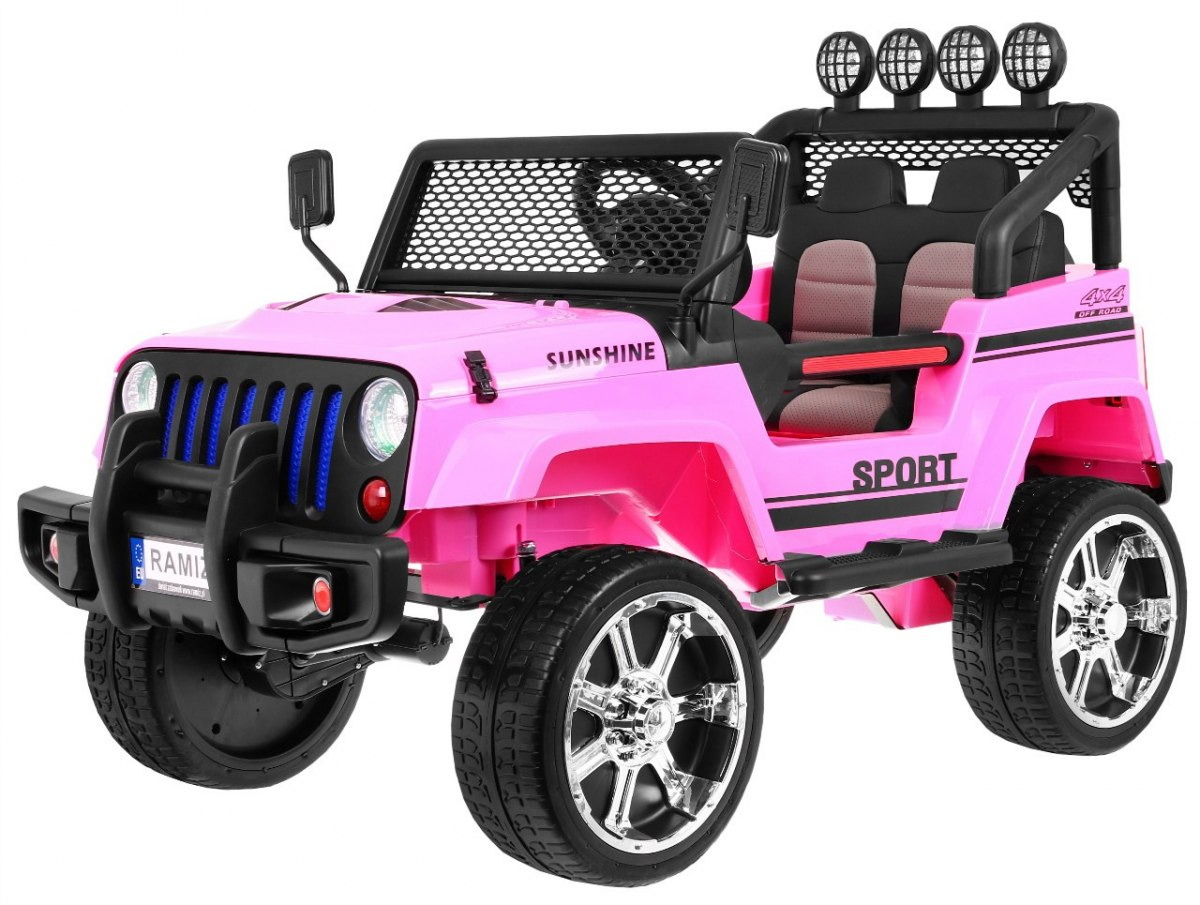 Ramiz Jeep Raptor 4x4, kožená sedačka, 2 místné - růžové