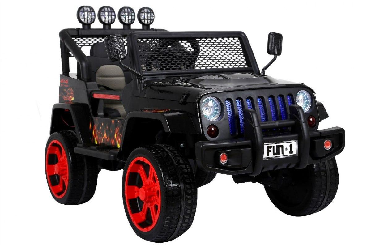 Ramiz Jeep Raptor 4x4, kožená sedačka, 2 místné - černé s plameny