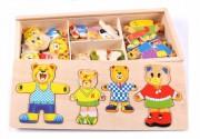 Dřevěná krabice s kusy puzzle medvědí rodiny