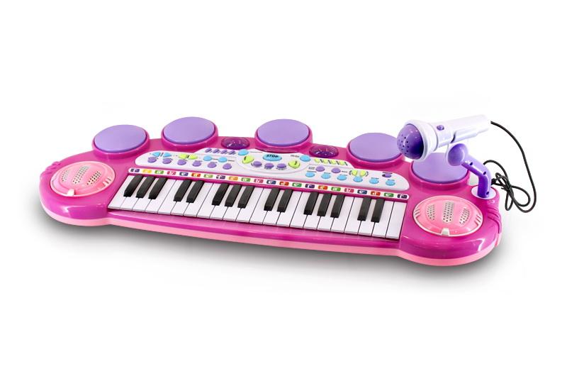 Dětské klávesy s mikrofonem a židličkou