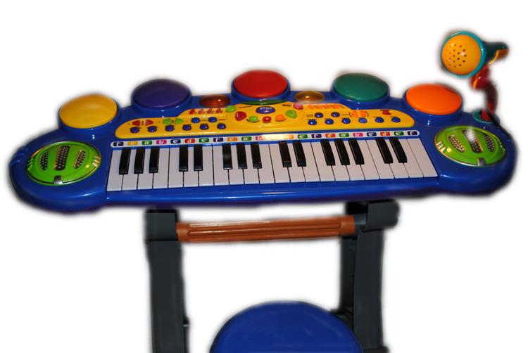 Dětské klávesy s mikrofonem a židličkou - modré