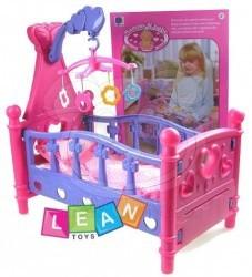 Postýlka pro panenku s kolotočem - Lean Toys