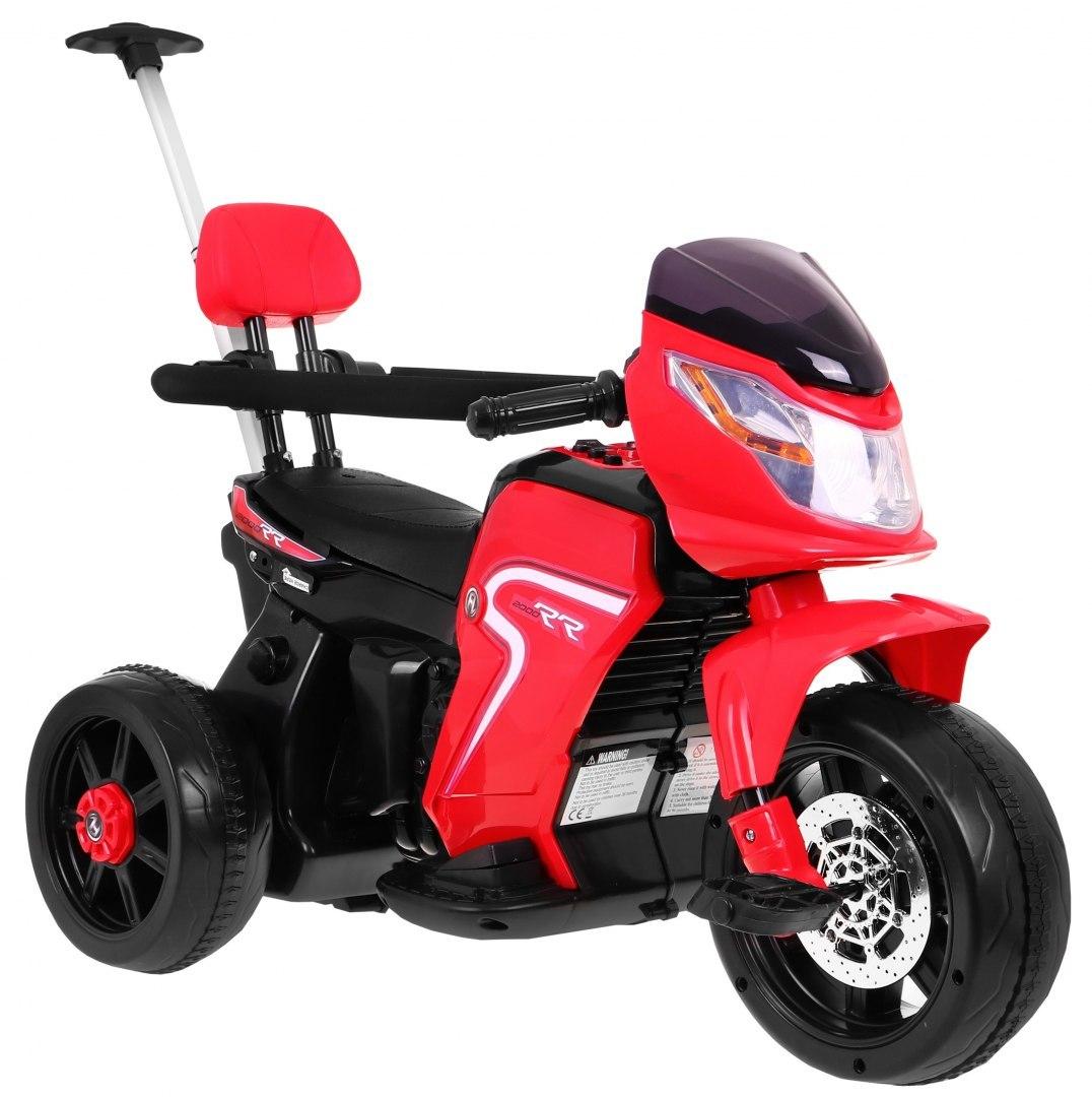 Elektrická motorka s vodicí tyčí 3v1 - červená