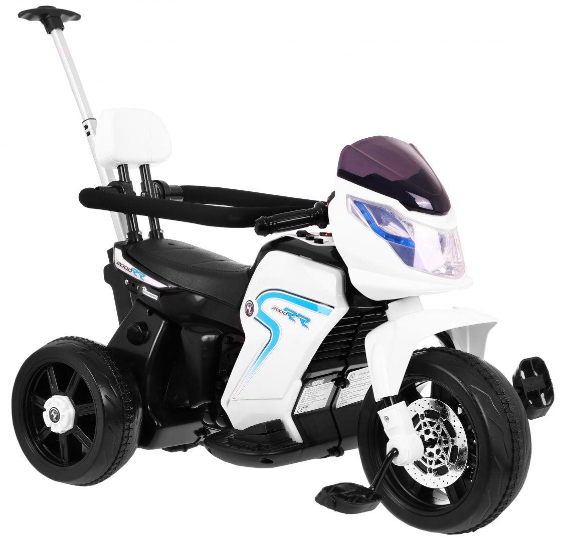Elektrická motorka s vodicí tyčí 3v1 - bílá