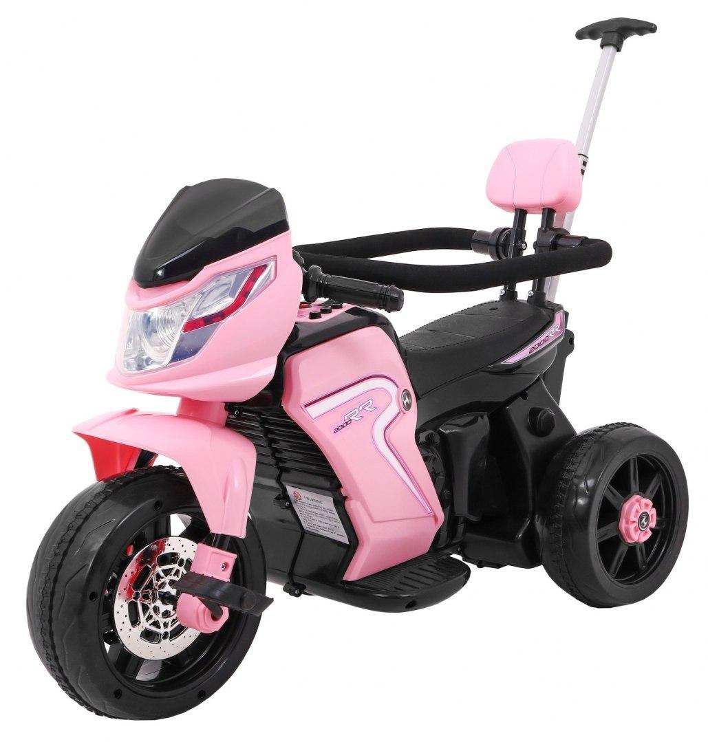 Elektrická motorka s vodicí tyčí 3v1 - růžová