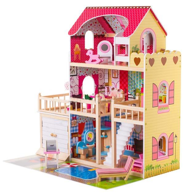 Doris dřevěný domeček pro panenky s LED osvětlením