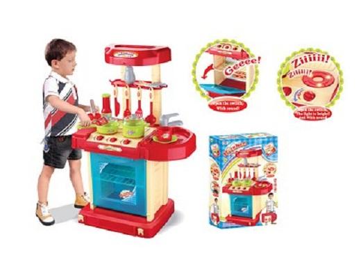 Dětská interaktivní kuchyňka v kufříku - červená