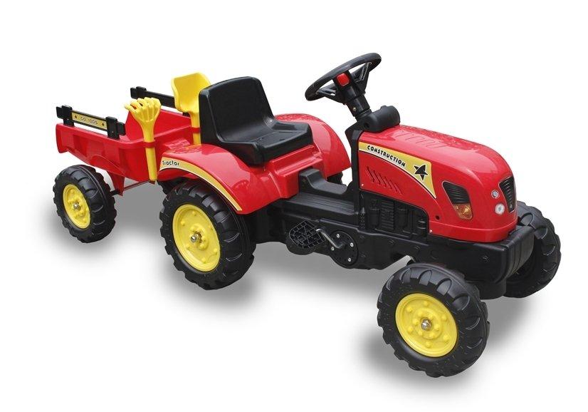 Šlapací traktor Branson s přívěsem - červený
