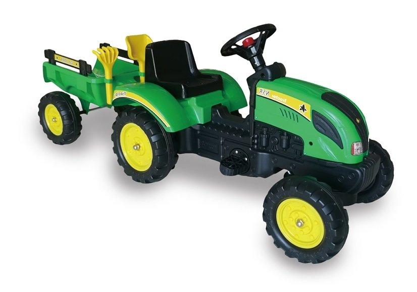 Šlapací traktor Branson s přívěsem - zelený