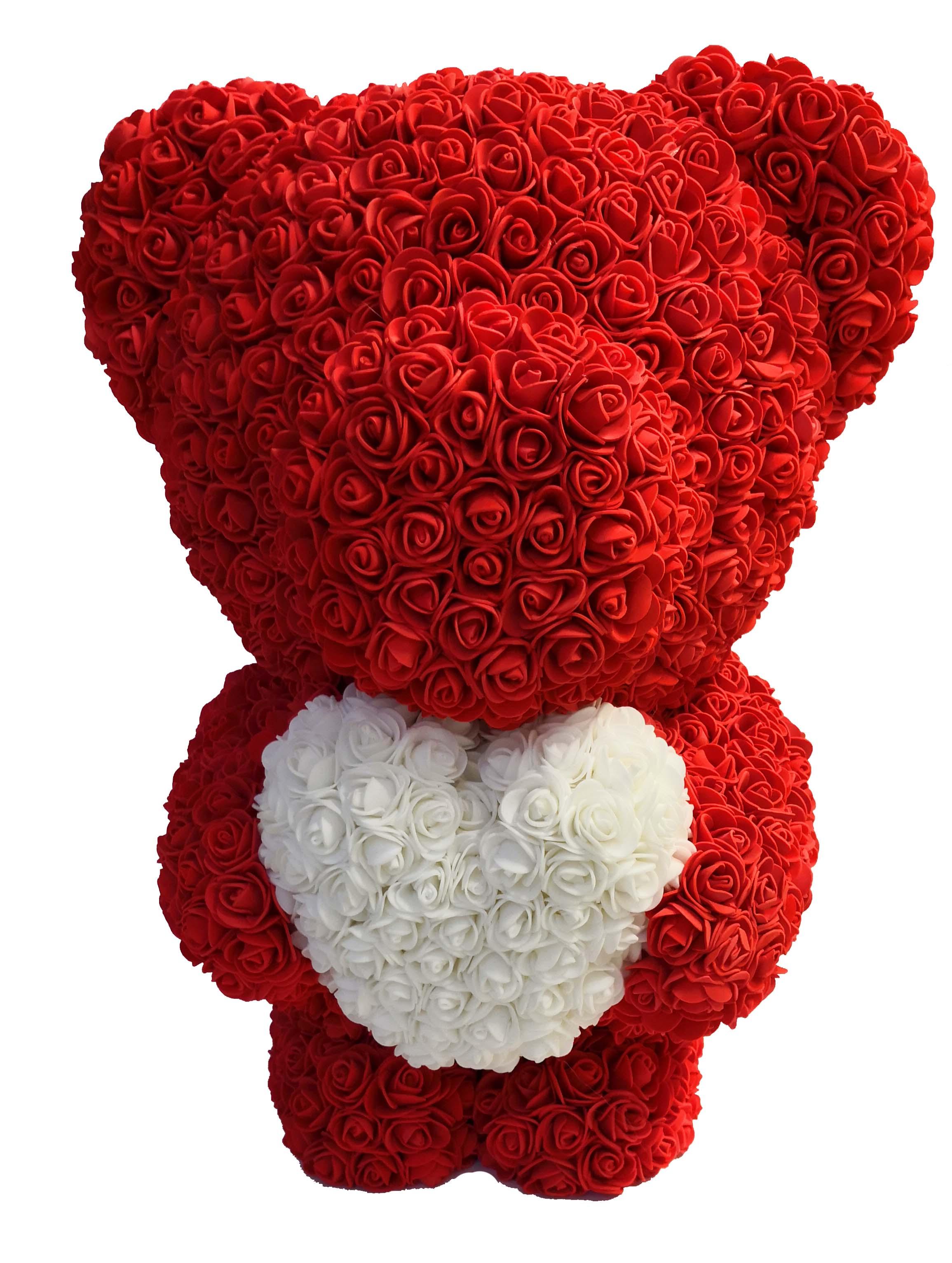 Medvěd z růží se srdcem 60 cm