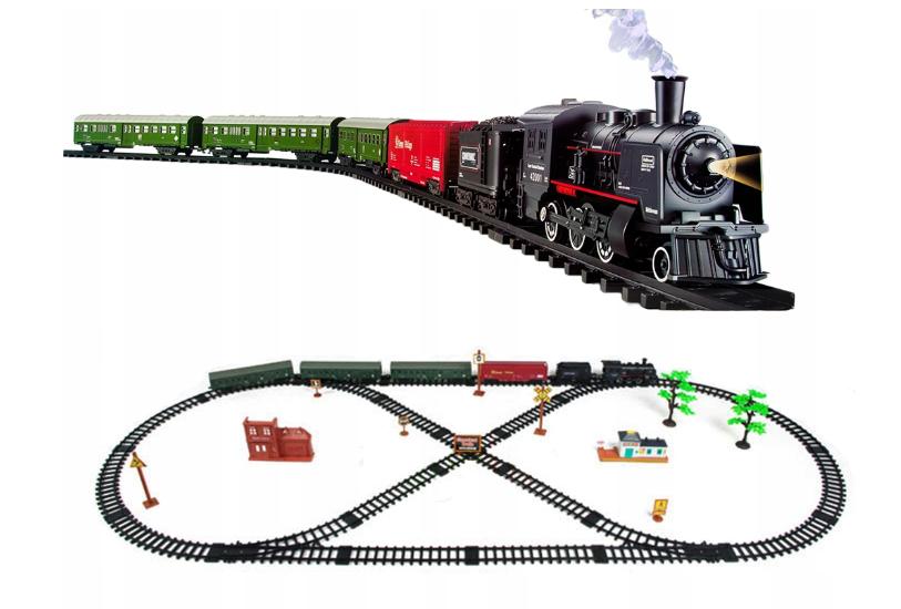 Vláčkodráha s kouřící lokomotivou