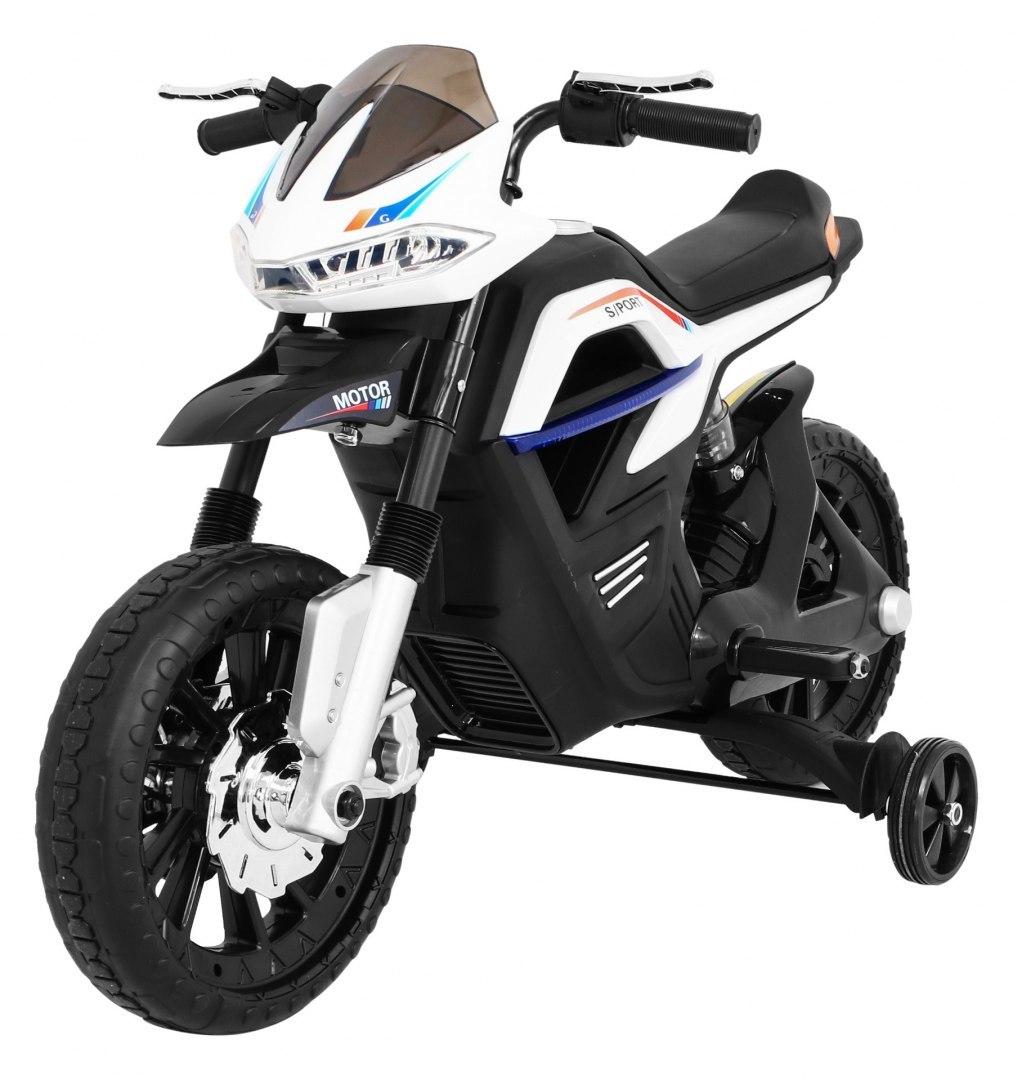 Dětská elektrická motorka Night Rider - bílá
