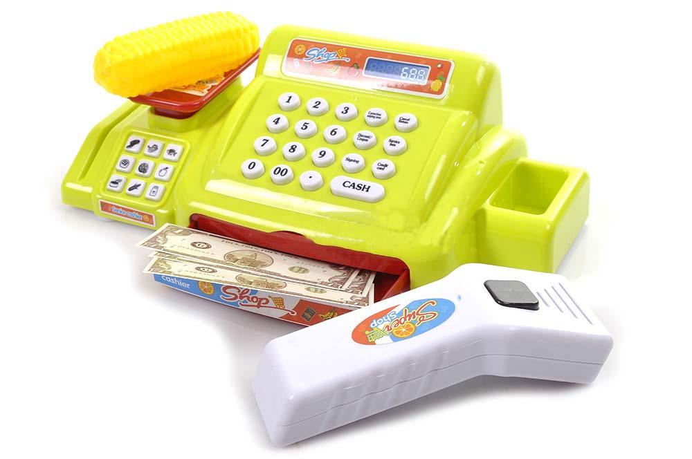 Dětská elektronická pokladna s nákupním košíkem a váhou