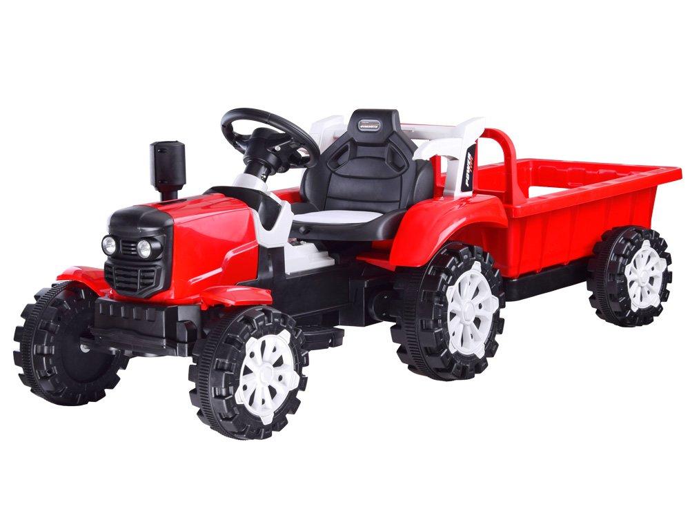 Elektrický traktor s přívěsem - červený
