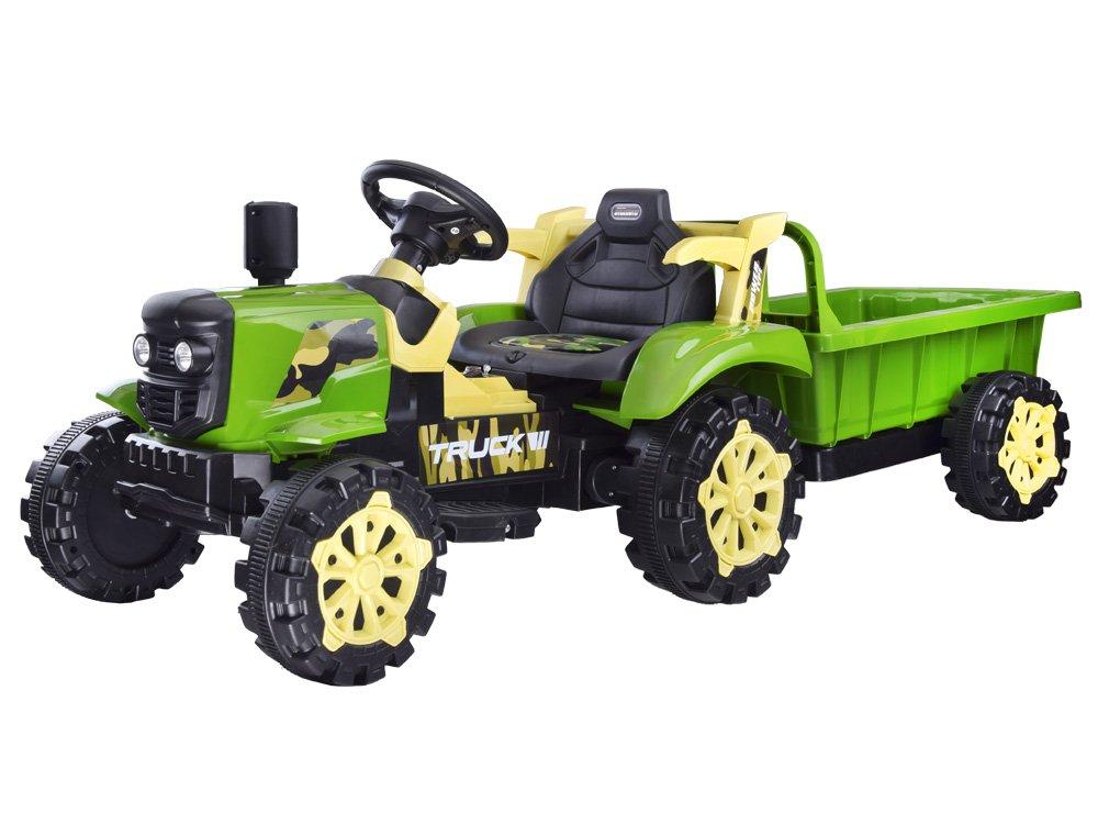 Elektrický traktor s přívěsem - zelený
