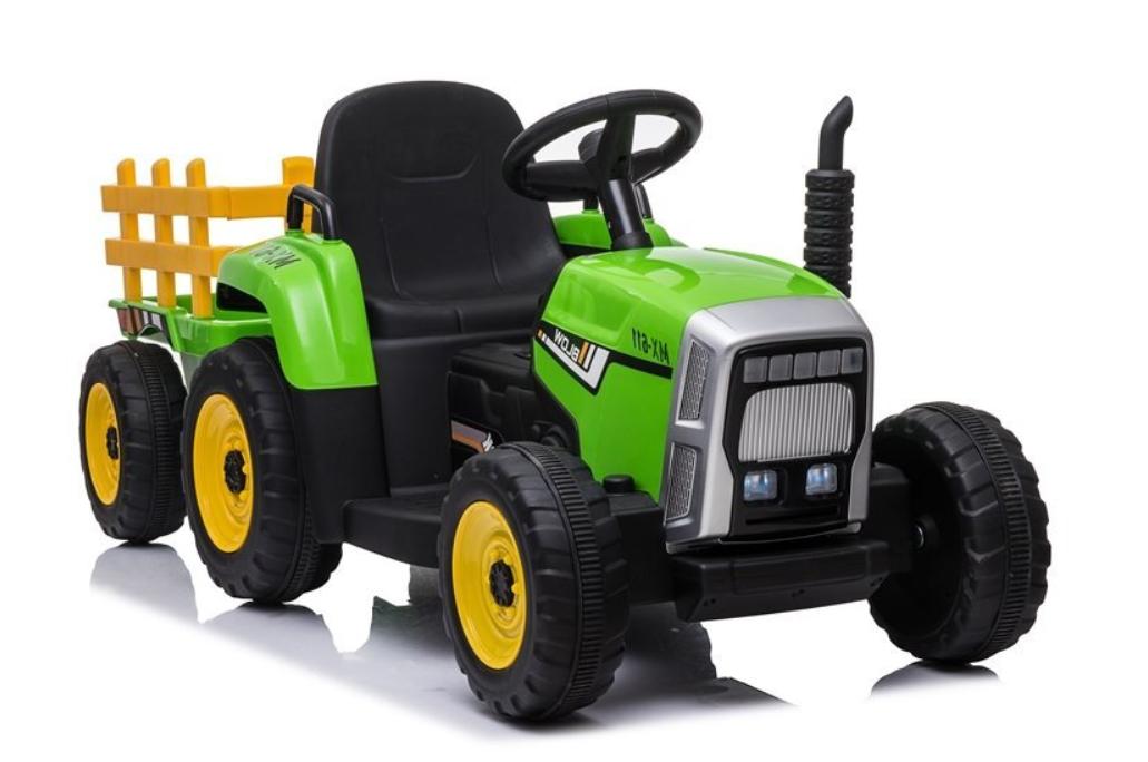 Elektrický traktor s přívěsem, 2.4GHz - zelený