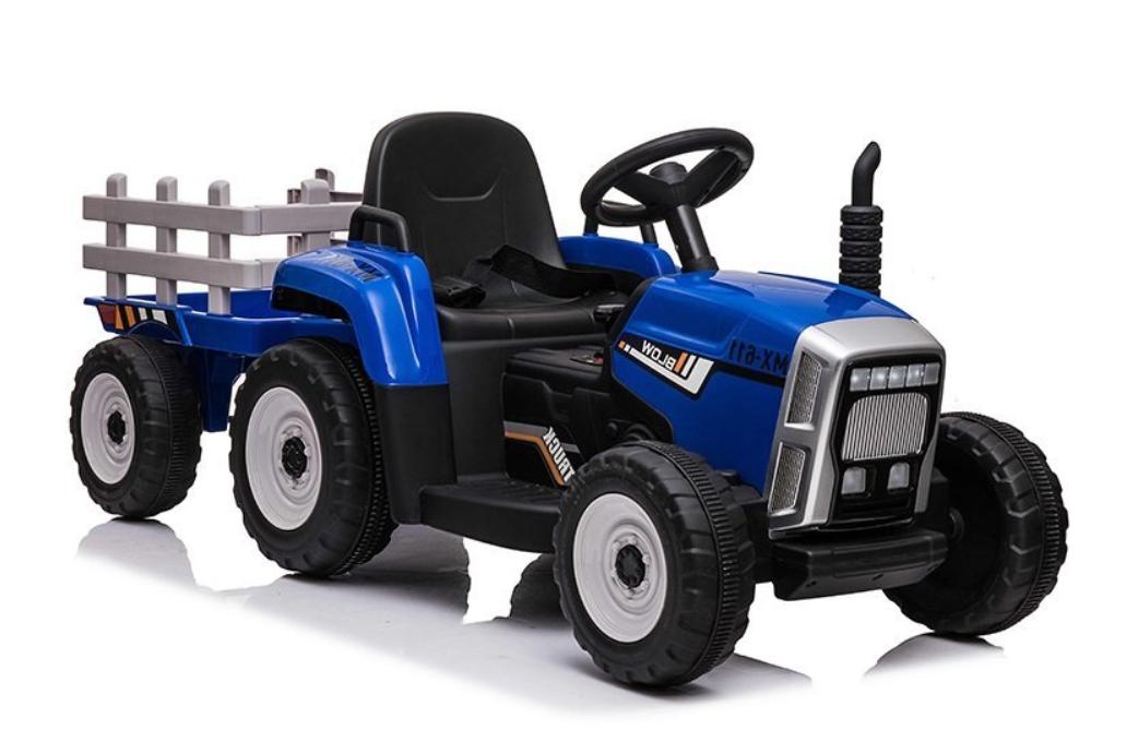 Elektrický traktor s přívěsem, 2.4GHz - modrý