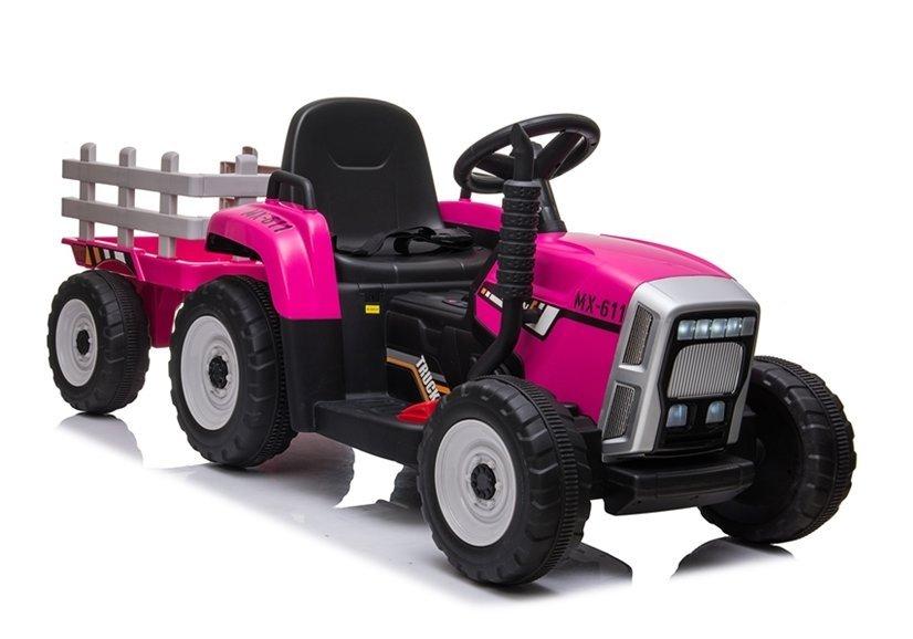 Elektrický traktor s přívěsem, 2.4GHz - růžový