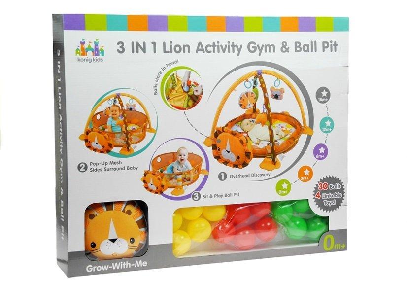 Dětská hrací deka Lev s 30 míčky