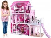 HračkyZaDobréKačky Dřevěný domeček pro panenky se skluzavkou