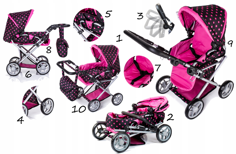 Kombinovaný kočárek pro panenky 9346