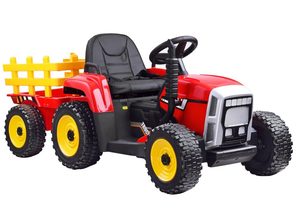 HračkyZaDobréKačky elektrický traktor s vlečkou - červený