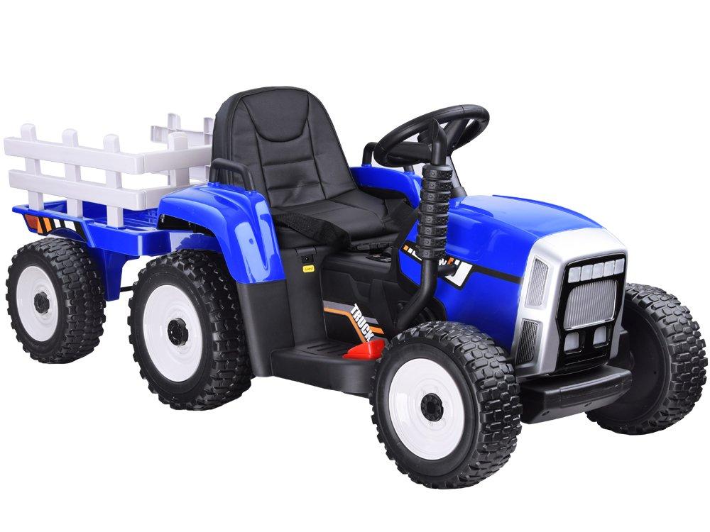 HračkyZaDobréKačky elektrický traktor s vlečkou - modrý, bez DO