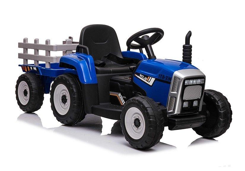 HračkyZaDobréKačky elektrický traktor s vlečkou - modrý