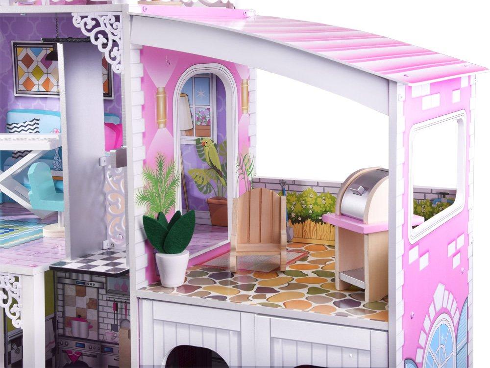 HračkyZaDobréKačky Dřevěný domeček s garáží MAXI