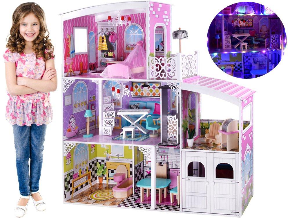 HračkyZaDobréKačky Dřevěný domeček s garáží MAXI, LED
