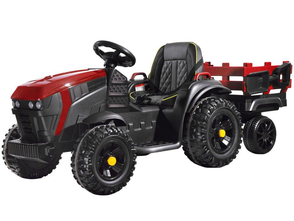 Elektrický farmářský traktor s přívěsem - červený