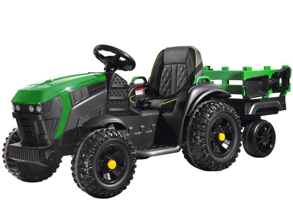 Elektrický farmářský traktor s přívěsem - zelený