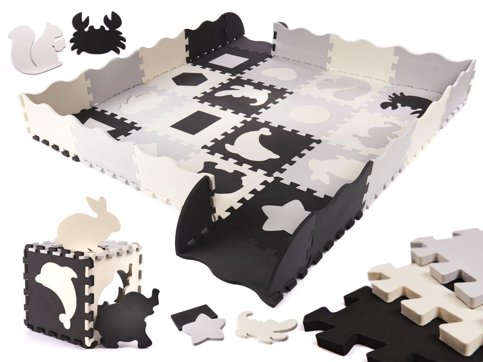 Pěnové puzzle pro děti černá a bílá - 36ks