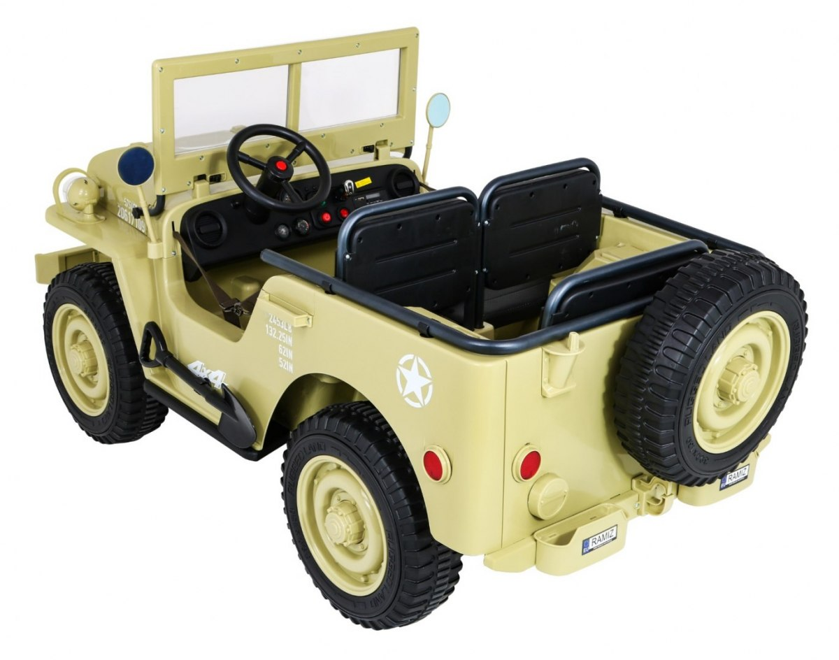 Dětský elektrický vojenský jeep willys 4x4 zelený