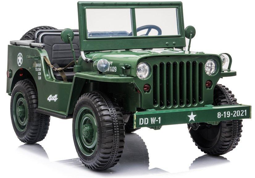 Dětský elektrický vojenský jeep willys 4x4 - zelený