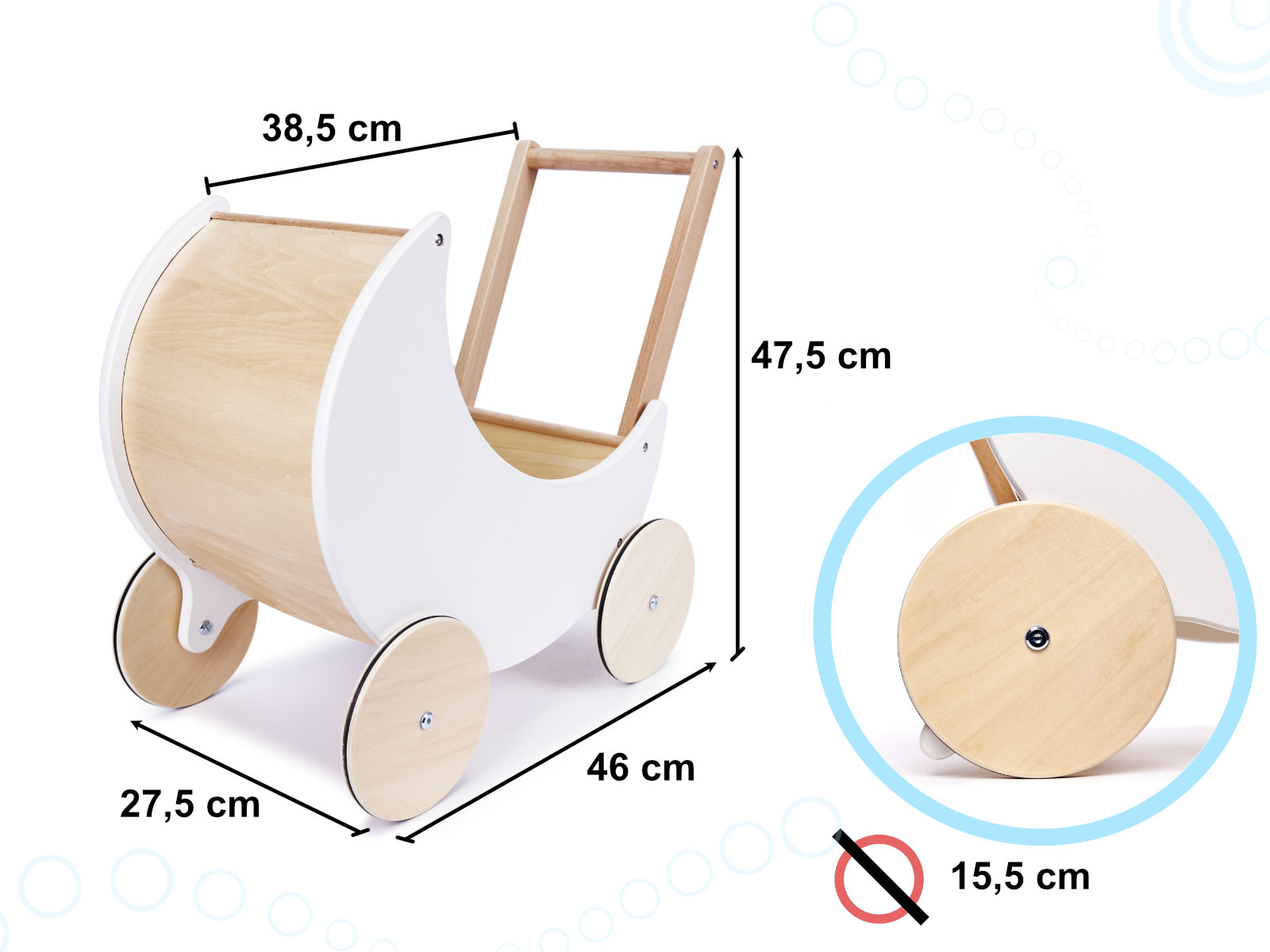 Dětský dřevěný kočárek pro panenky - chodítko