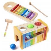 Dřevěný xylofon s kladivem