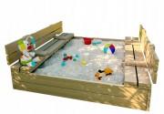 Tomido Dětské dřevěné pískoviště s lavičkami