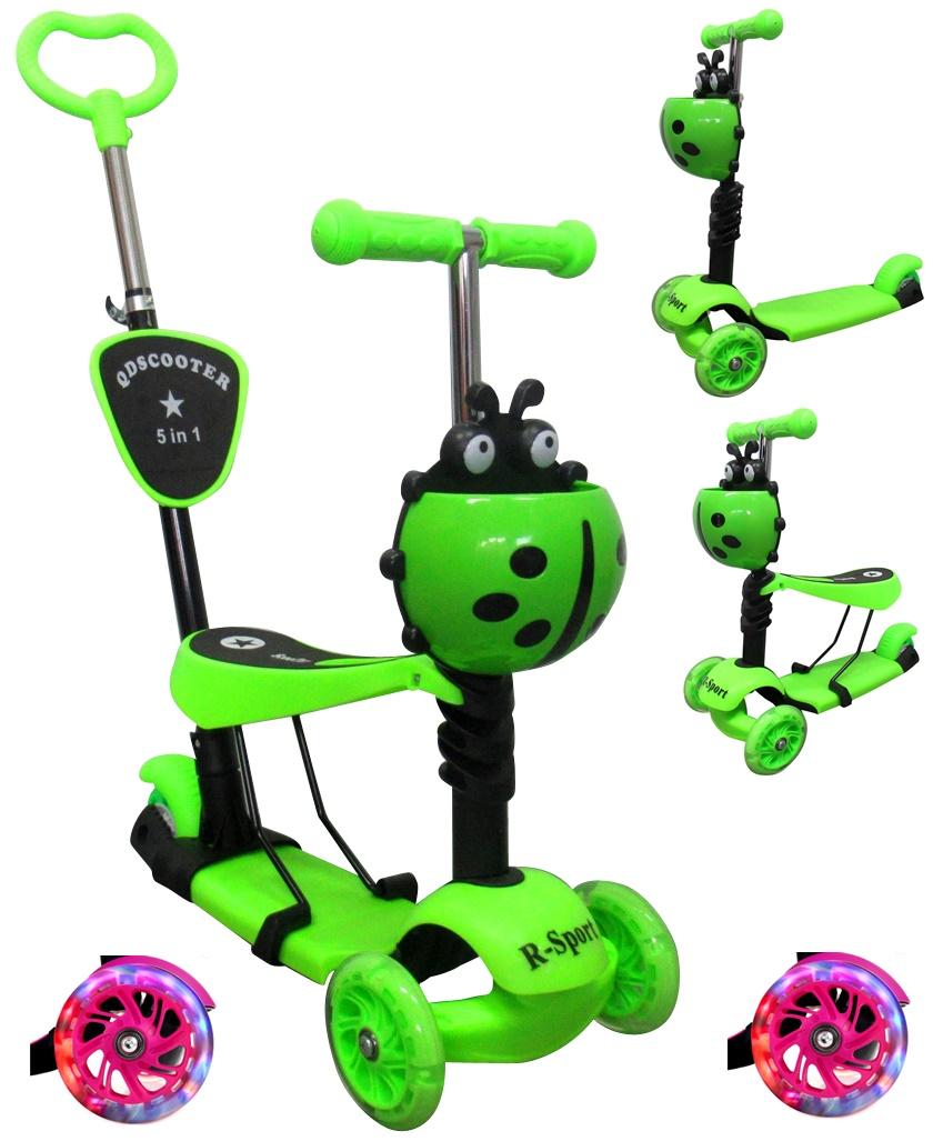 Dětská tříkolová koloběžka R-Sport 5v1 - zelená