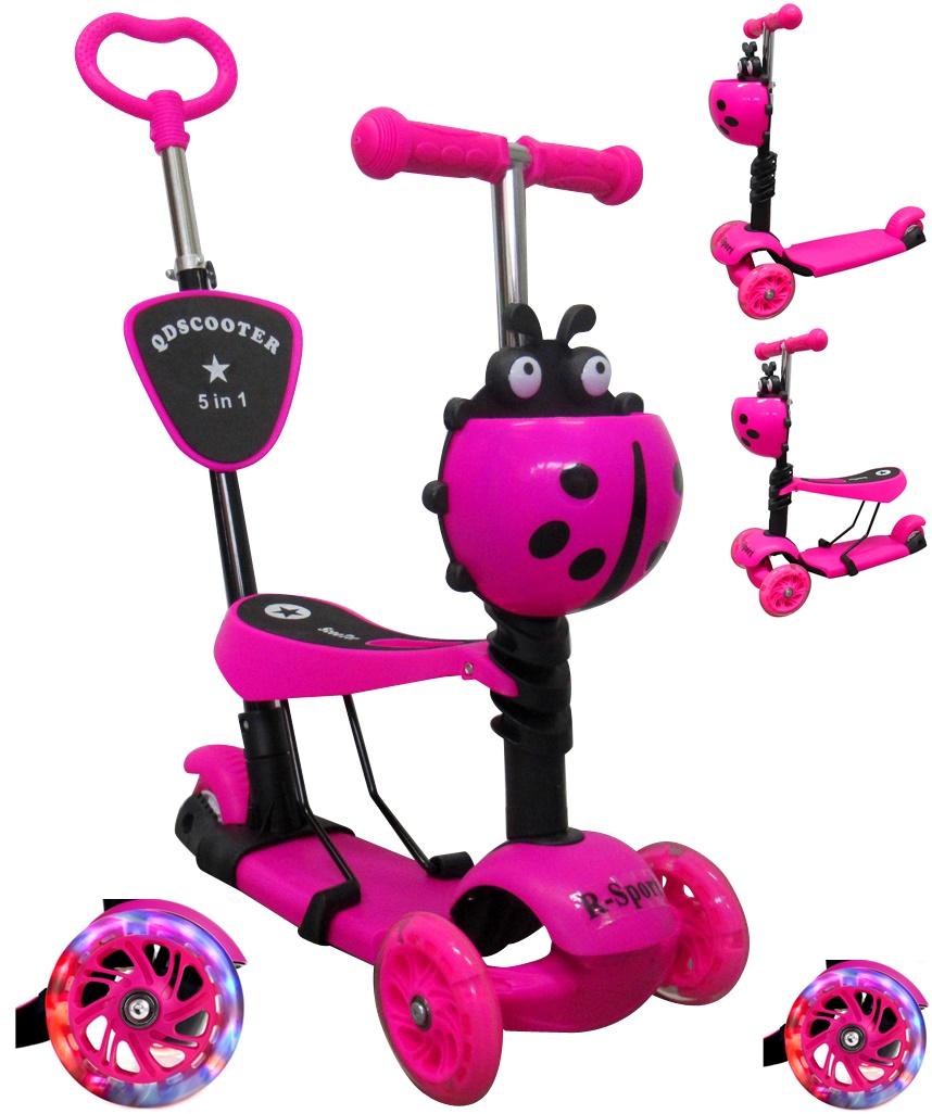 Dětská tříkolová koloběžka R-Sport 5v1 - růžová