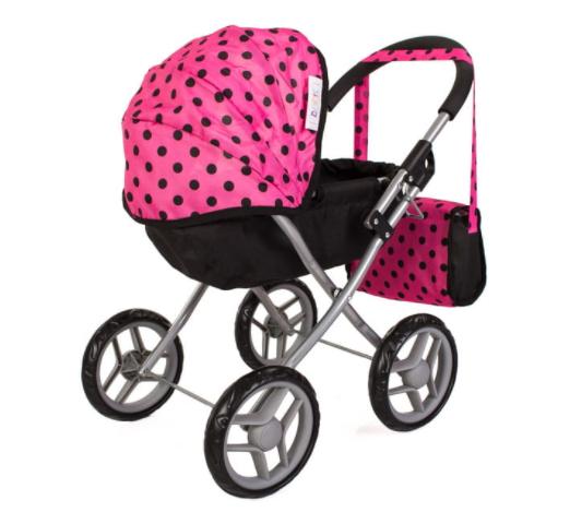 Tomido hluboký kočárek pro panenky - růžovo-černý s puntíky