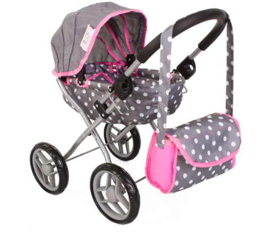 Tomido hluboký kočárek pro panenky - šedo-růžový s puntíky