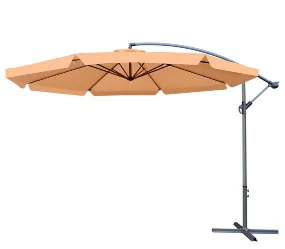 Tomido zahradní slunečník 350 cm - světle hnědý