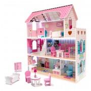 Dřevěný domeček pro panenky s LED a příslušenstvím 70 cm