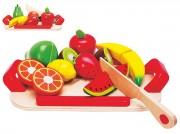 Dřevěné ovoce s deskou na krájení