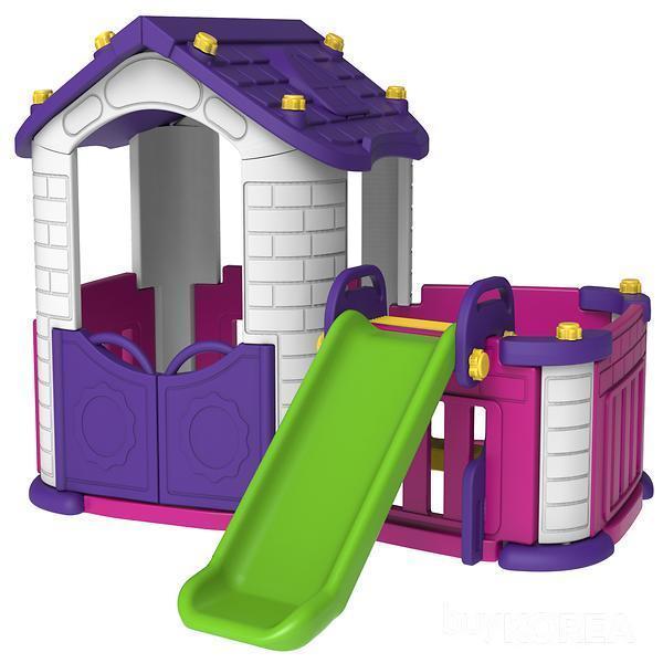 Zahradní domeček se skluzavkou - fialový
